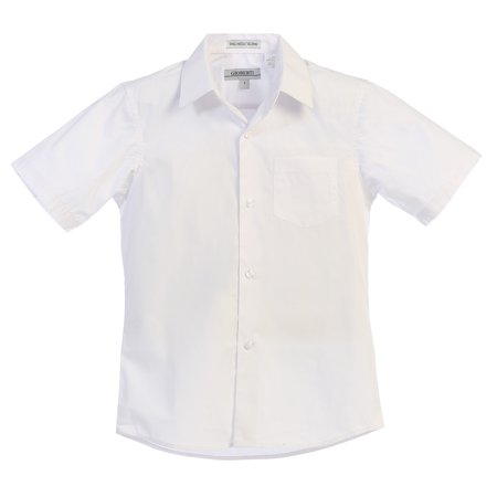 Gioberti Boy's Short Sleeve Solid Dress Shirt - White Dress Shirt Boys