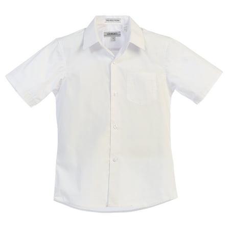 Ivory Boys Dress Shirt (Gioberti Boy's Short Sleeve Solid Dress)