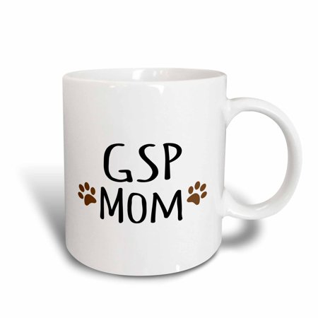Have Paws Mugs - 3dRose GSP Dog Mom - German Shorthaired Pointer - short-haired doggie by breed brown paw prints doggy mama, Ceramic Mug, 15-ounce