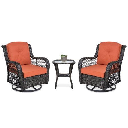Best Choice Products 3 Piece Patio Wicker Bistro Furniture