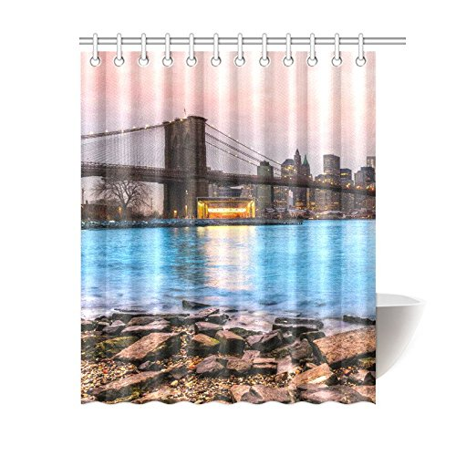 GCKG New York City Shower Curtain Panoramic View Of Manhattan Polyester Fabric Bathroom Sets 60x72 Inches