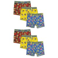 SpongeBob Boys Underwear, 6 Pack Boxer Briefs Sizes 4 - 10