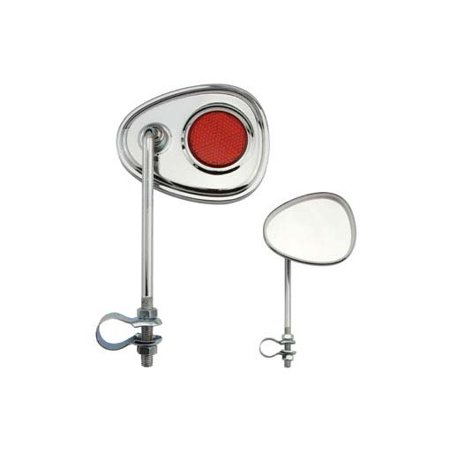V Mirror Chrome Red Reflectors. Bike mirror, bicycle mirror for lowrider , beach cruiser, chopper, limo, stretch bike,