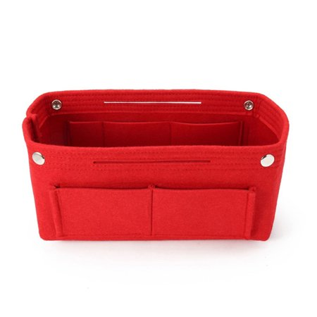 Felt Purse Organizer, Bag in Bag Organizer for Tote, Handbags FREE Eyeglass Pouch by Juniper's Secret (Red)