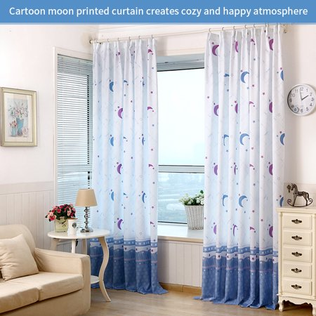 YLSHRF Country Style Moon Printed Window Curtain Half Transparent Bedroom Decoration(Hooks Included), Window Curtain, Bedroom Curtains