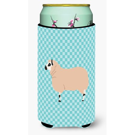 Kerry Hill Sheep Blue Check Tall Boy Beverage Insulator Hugger (Hill Beverage)