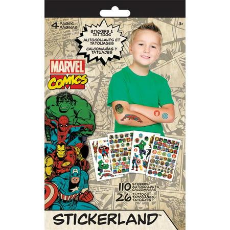 Sticker + Tattoo Stickerland Pad - Marvel Classic - 4 pages Toys New tt3499](Marvel Stickers)