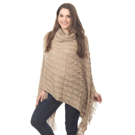 Women Chic Knitted Stripe Turtleneck Fringe Cape Poncho - 2 Colors (Natural)