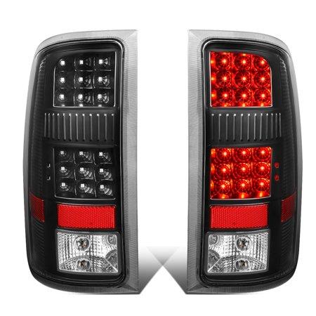Tyc Tail Light Black Housing (For 2007 to 2014 GMC Sierra Pair Black Housing Clear Lens Full LED Tail Light Rear Brake Lamps )