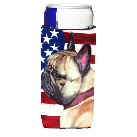 French Bulldog Frenchie USA Patriotic American Flag Ultra Beverage Insulators for slim cans LH9545MUK
