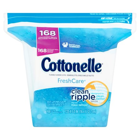 Cottonelle Freshcare Flushable Cleansing Cloths Refill  168 Sheets