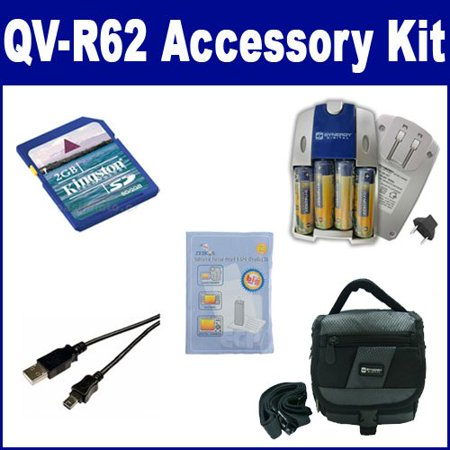 Casio Exilim QV-R62 Digital Camera Accessory Kit includes: ZELCKSG Care & Cleaning, SDC-27 Case, KSD2GB Memory Card, USB5PIN USB Cable, SB257