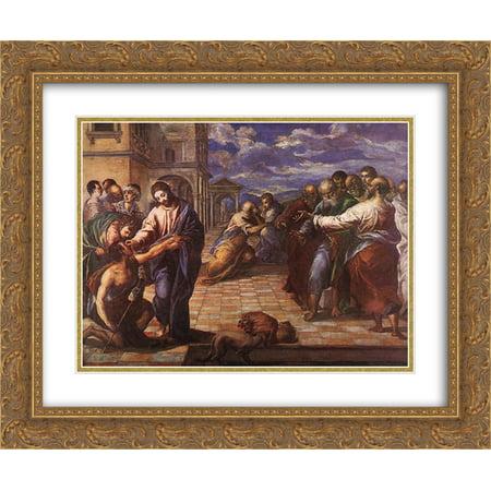 El Greco 2x Matted 24x20 Gold Ornate Framed Art Print 'Christ healing the blind - Jesus Heals Blind Man