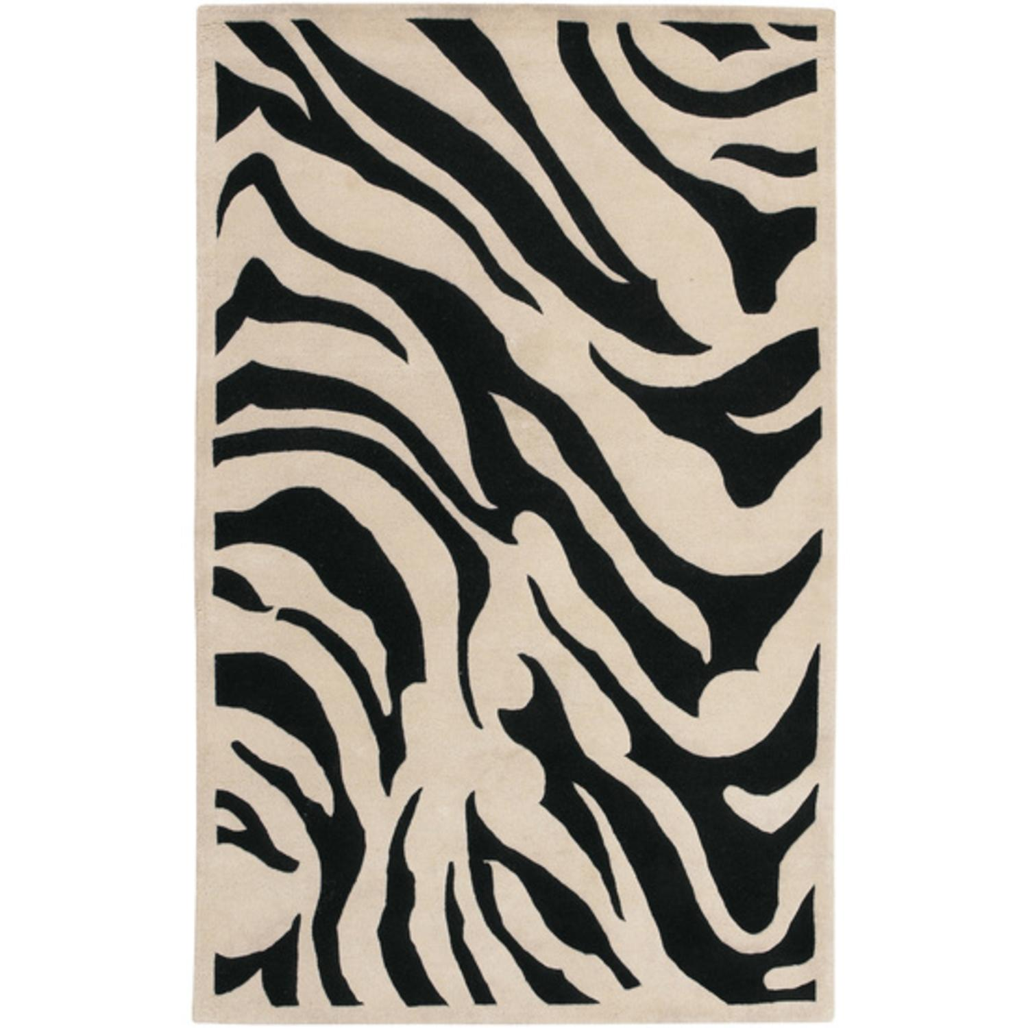 2' x 3' Zebra Animal Print Coal Black and Parchment Wool Area Throw Rug
