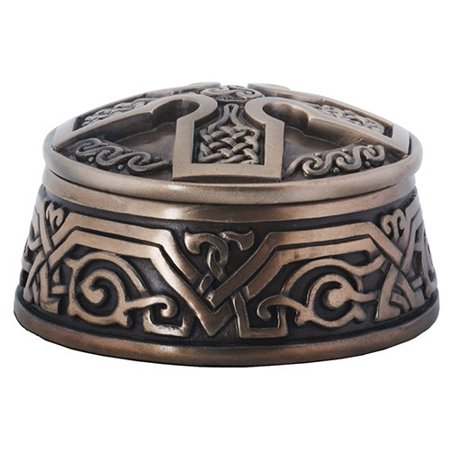 Bronze Finish Celtic Cross Round Jewelry Trinket Box Storage Container New Celtic Cross Trinket Box