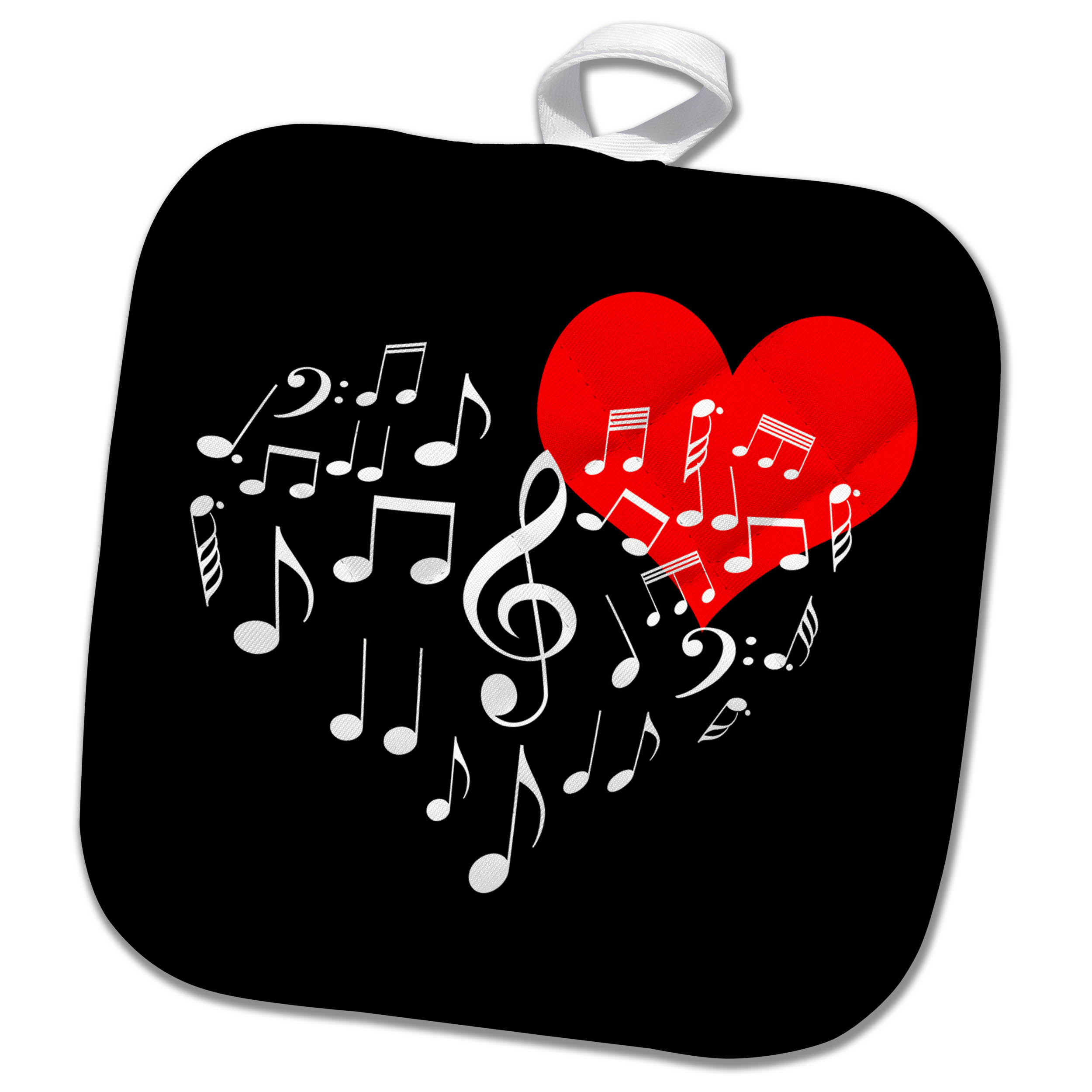 3drose Singing Heart Red Heart And White Music Notes Black Background Pot Holder 8 By 8 Inch Walmart Com Walmart Com