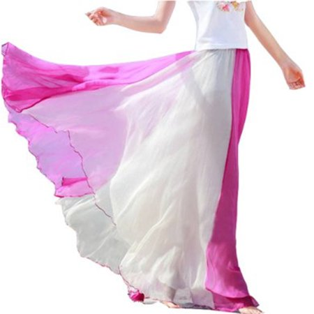 Adult Circle Skirt - TopTie Full Circle Skirt Flowing Maxi Skirts Best Chiffon Skirt-Pink-M