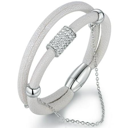White Vegan Stingray Leather & Swarovski Crystal Bracelet