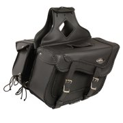 Double Strap Black Pac Vinyl Throw Over Saddlebags Metal Buckles