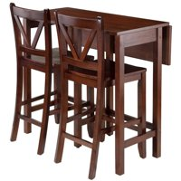 Pemberly Row 3 Piece Drop Leaf Counter Height Dining Set in Walnut