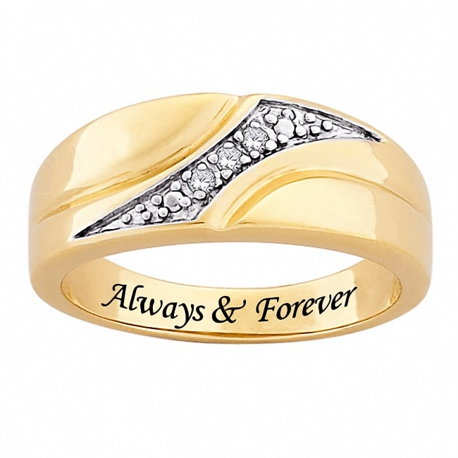 MBM 14k Gold Plated Diamond 'Always & Forever' Engraved Ring