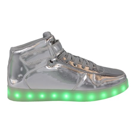 LED Light Up Sneakers Kids High Top USB Charging Boys Girls Unisex Strap Lace Up Shoes Silver ()