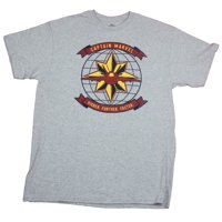 Captain Marvel Mens T-Shirt- Higher Further Faster Yellow Star Globe Image