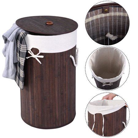 Laundry Basket for Home, Dark Brown Barrel Type Bamboo Slim Laundry Hamper, Dirty Clothes Hamper Folding Basket Body with Cover PKWQ881BN-1