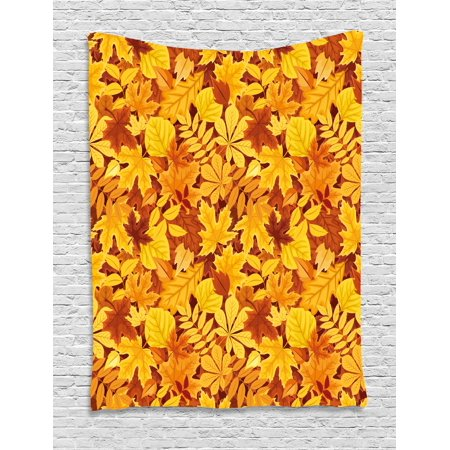 Autumn Tapestry, Shady Fall Oak Maple Tree Leaves on Faded Tones Seasonal Foliage Artwork, Wall Hanging for Bedroom Living Room Dorm Decor, Earth Yellow Marigold, by Ambesonne