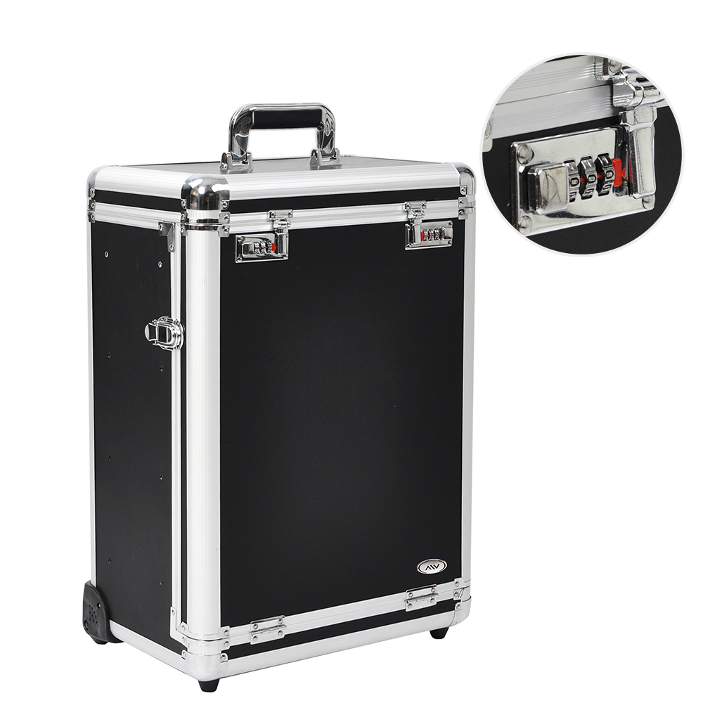 "AW 14x9x20"" Pro Black Rolling Aluminum Frame Jewelry Makeup Case w/ Slide-out Drawers Code Lock Display Box"