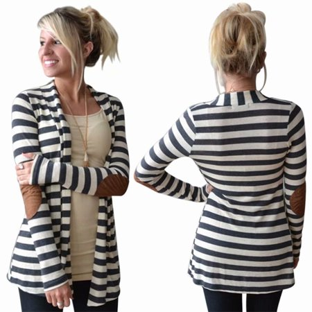 Women Winter Long Sleeve Thin Striped Cotton Coat Cardigans