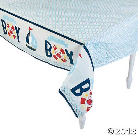 Nautical Plastic Table (Nautical Baby Shower Plastic Tablecloth )