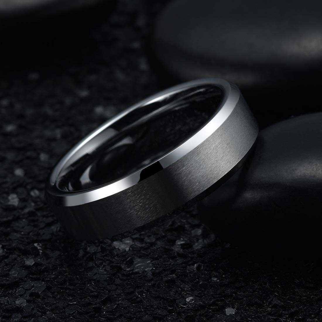 King Will Basic 3mm 5mm 6mm 7mm 8mm 9mm Titanium Ring Matte Finished Wedding Band Comfort Fit Beveled Edge
