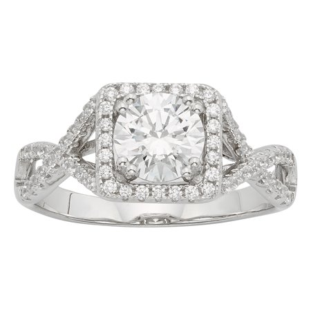 2 1/2 Carat T.W Swarovski Crystal Square Frame Sterling Silver engagement ring. ()