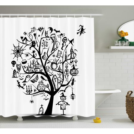 Halloween Shower Curtain, Sketchy Spooky Tree with Spooky Design Objects and Wicked Witch Broom Abstract, Fabric Bathroom Set with Hooks, Black White, by Ambesonne
