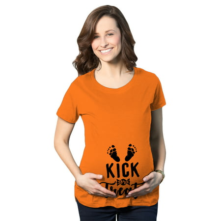 Maternity Kick Or Treat Tshirt Funny Halloween Pregnancy Announcment Tee - Halloween Outfits For Pregnant Women