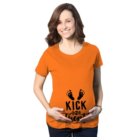 Maternity Kick Or Treat Tshirt Funny Halloween Pregnancy Announcment Tee - Maternity Halloween Top