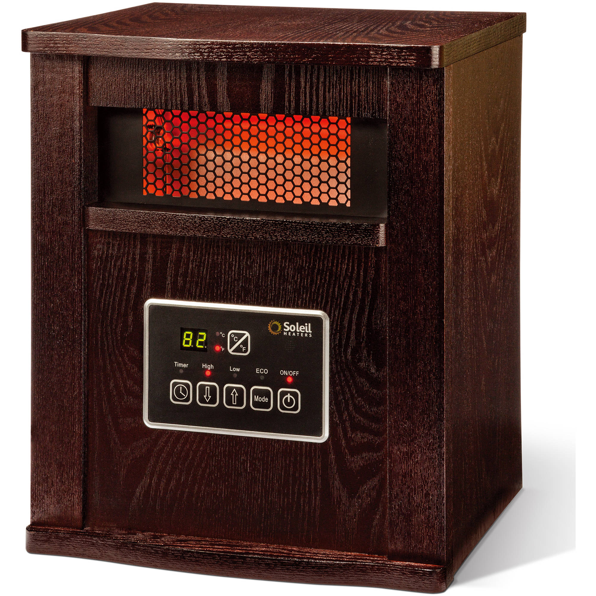 Soleil Infrared 4-Element Quartz Electric Room Space Heater with Remote, 750/1500 Watt, Walnut Color Cabinet, WH-94H