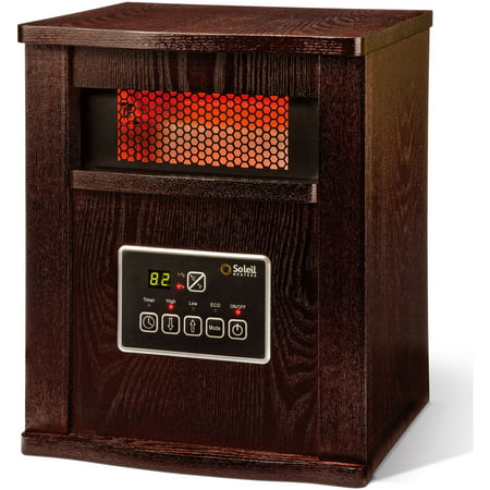 Soleil Infrared 4-Element Quartz Electric Room Space Heater with Remote, 750/1500 Watt, Walnut Color Cabinet,
