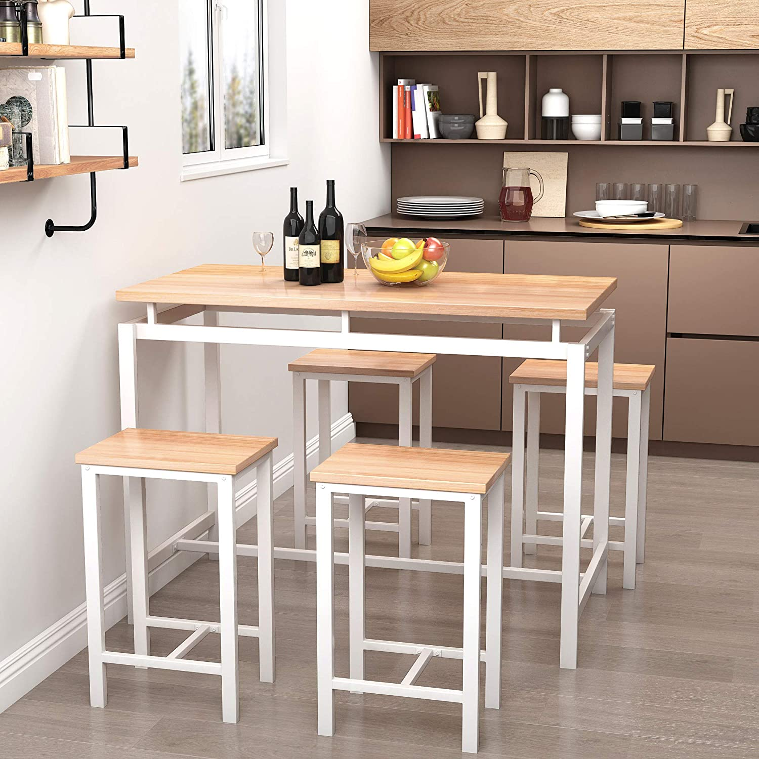 DKLGG Dining Room Set 5-Piece, Modern Small Kitchen Table with 4