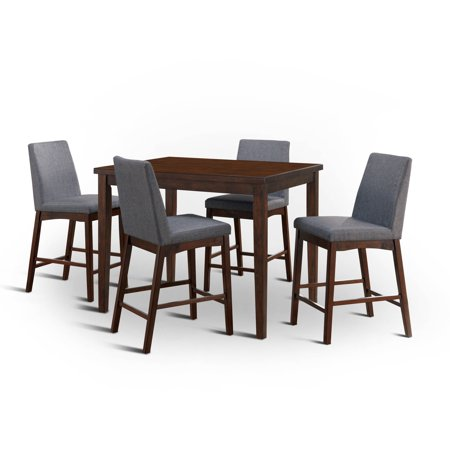 Furniture of America Aric Mid-Century 5-Piece Counter Height Dining Set, Brown Cherry