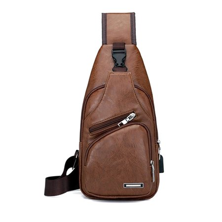 Men Shoulder Chest Bag USB Charging PU Leather Zipper Fashion For Mobile Phone New