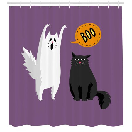 Say Boo Halloween Song (Halloween Shower Curtain, Funny Scene of Ghost White Cat Says Boo to Bored Look Black Cat, Fabric Bathroom Set with Hooks, Pale Eggplant and Multicolor, by)