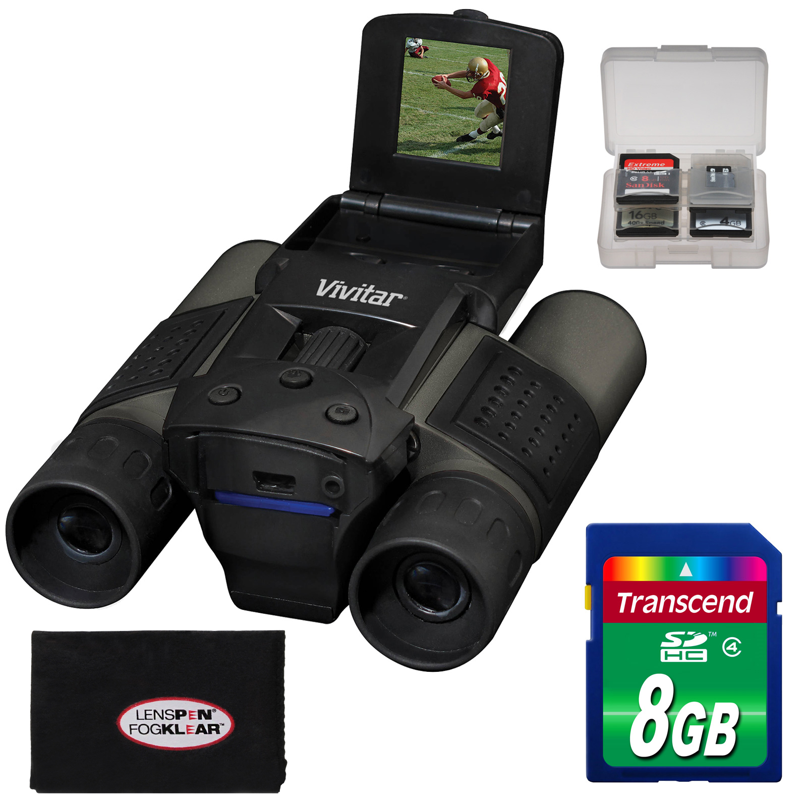 Vivitar 12x25 Binoculars with Built-in Digital Camera with 8GB Card + Accessory Kit