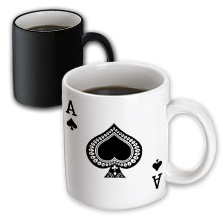3dRose Ace of Spades playing card - Black spade suit - Gifts for cards game players of poker bridge games, Magic Transforming Mug, 11oz