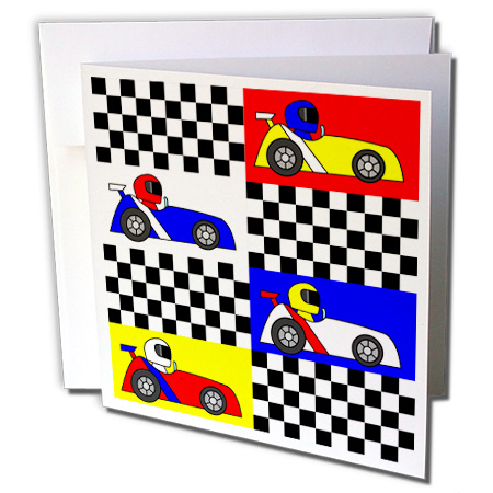 3dRose Boy Stuff Blue Red Yellow Racecars Checkered Flag Design - Greeting Cards, 6 by 6-inches, set of 12