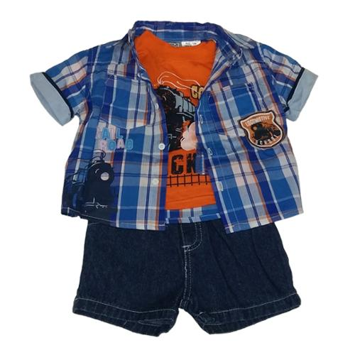 American Character Baby Boys Blue Train Shirt Tee Denim Shorts Set 12-24M