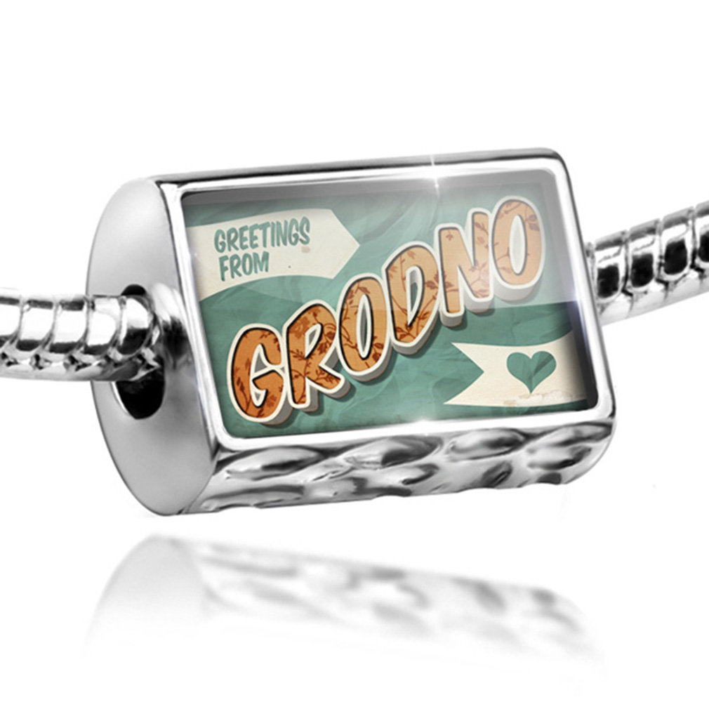 Bead Greetings from Grodno, Vintage Postcard Charm Fits All European Bracelets