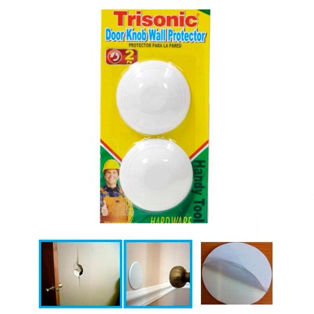2 Pc Door Knob Wall Protector Shield Round White Self Adhesive Prevents Holes - Thru Hole Knob