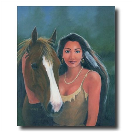 Native Indian Girl Horse Wall Picture Art Print - Native Girls